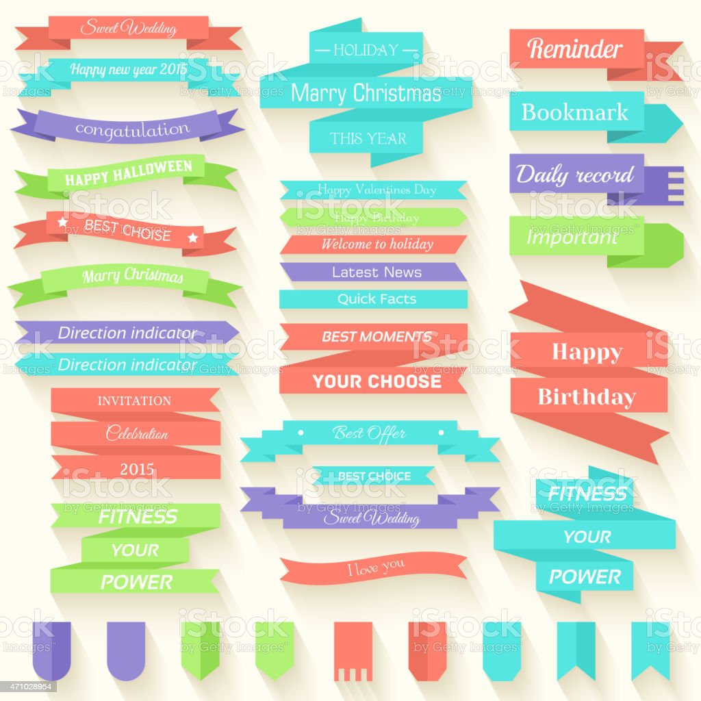 Set of colored ribbons sticker background vector art illustration