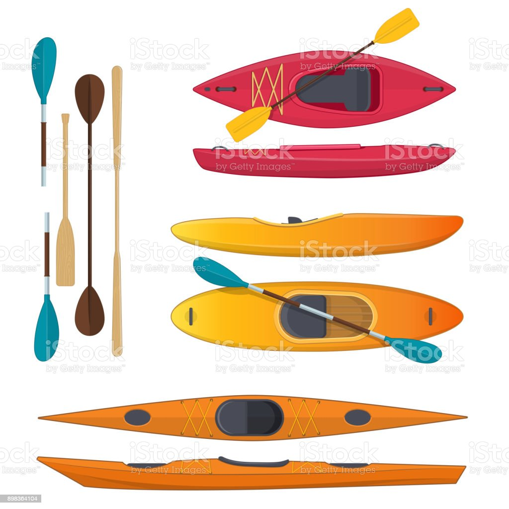 Set of colored sea and whitewater kayaks and paddles vector art illustration