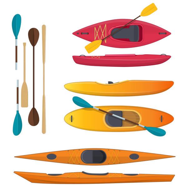 illustrations, cliparts, dessins animés et icônes de ensemble de couleur mer et eaux vives kayak et pagaies - sports de pagaie