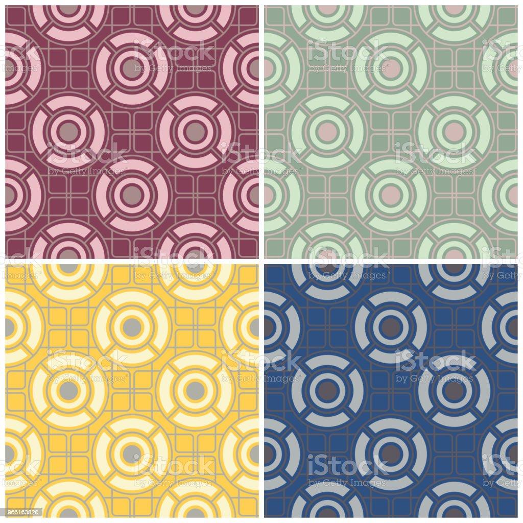 Set di sfondi colorati senza cuciture con motivi geometrici - arte vettoriale royalty-free di Astratto