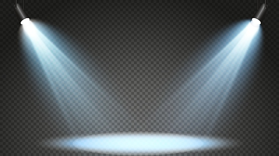 Set of colored searchlights on a transparent background. Bright lighting with spotlights. The searchlight is white, blue.