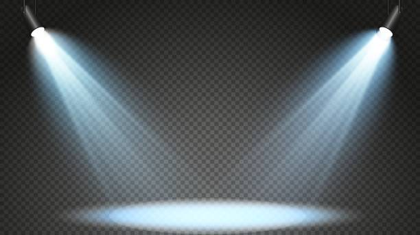 Set of colored searchlights on a transparent background. Bright lighting with spotlights. The searchlight is white, blue Set of colored searchlights on a transparent background. Bright lighting with spotlights. The searchlight is white, blue. spot lit stock illustrations
