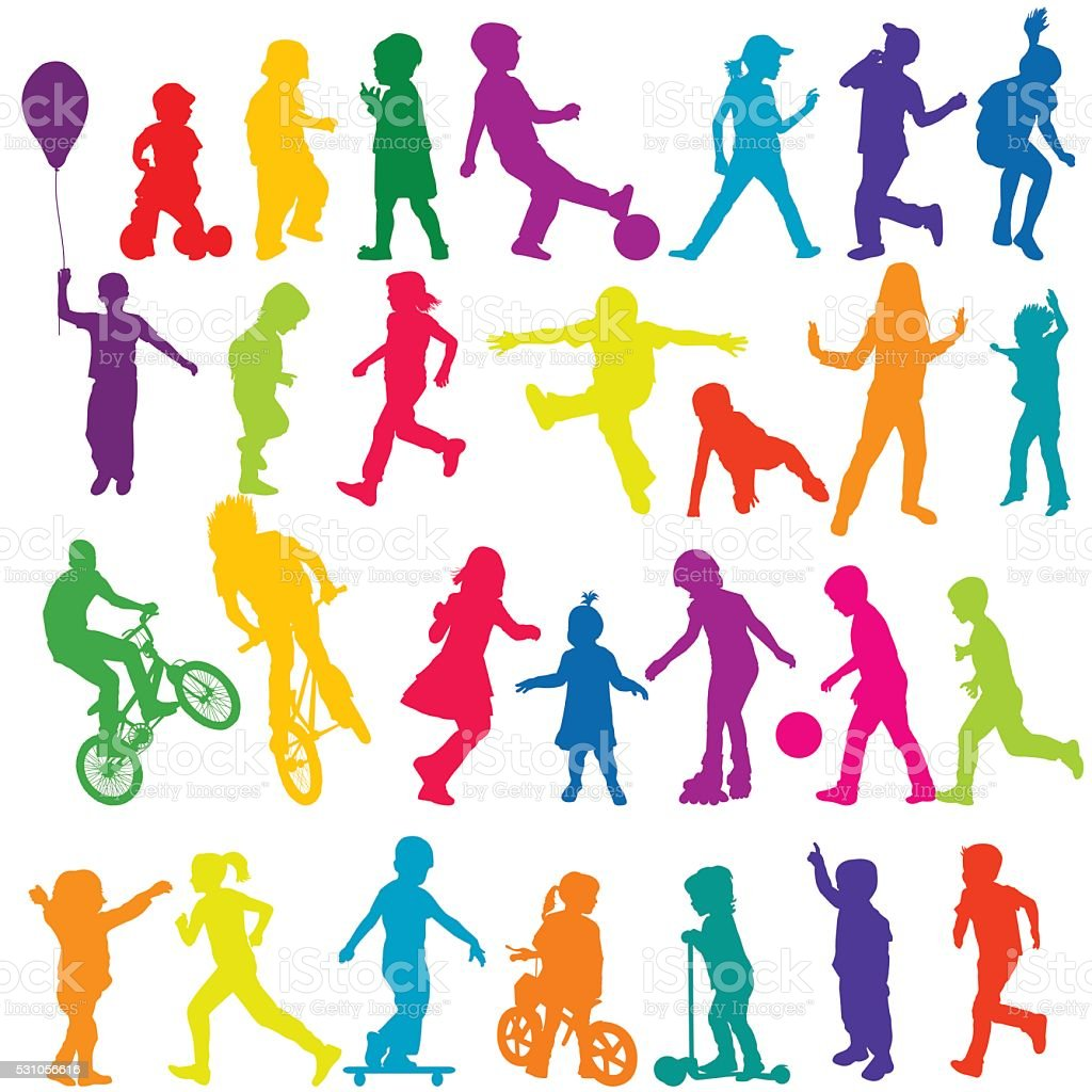 Set of colored silhouettes of active children vector art illustration