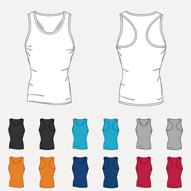 set of colored singlets templates for men - bodysuit stock-grafiken, -clipart, -cartoons und -symbole