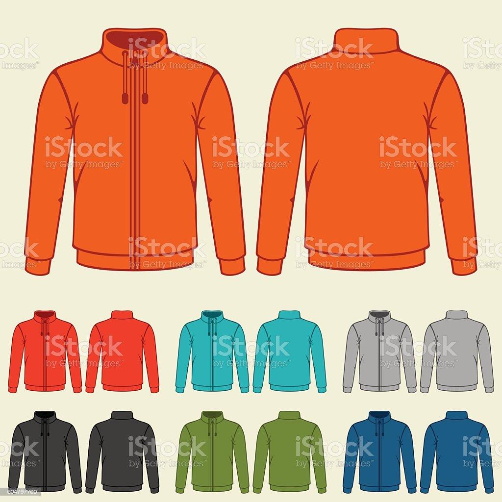 Set of colored sports jackets templates for men vector art illustration