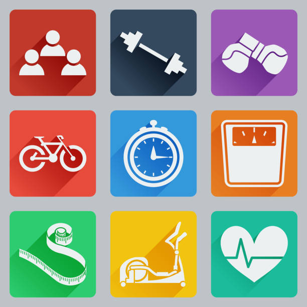 Set of colored square icons on fitness. Fashionable flat design with long shadows. Set of colored square icons on fitness. Fashionable flat design with long shadows. Vector illustration. long shadow design stock illustrations