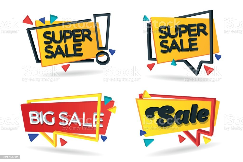 Discount store price retail place sign store set of colored stickers and banners