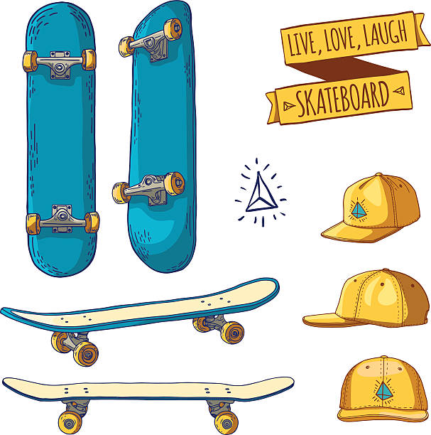 9547894d Set of colored stickers and labels with skateboards and caps. vector art  illustration. skateboard ...