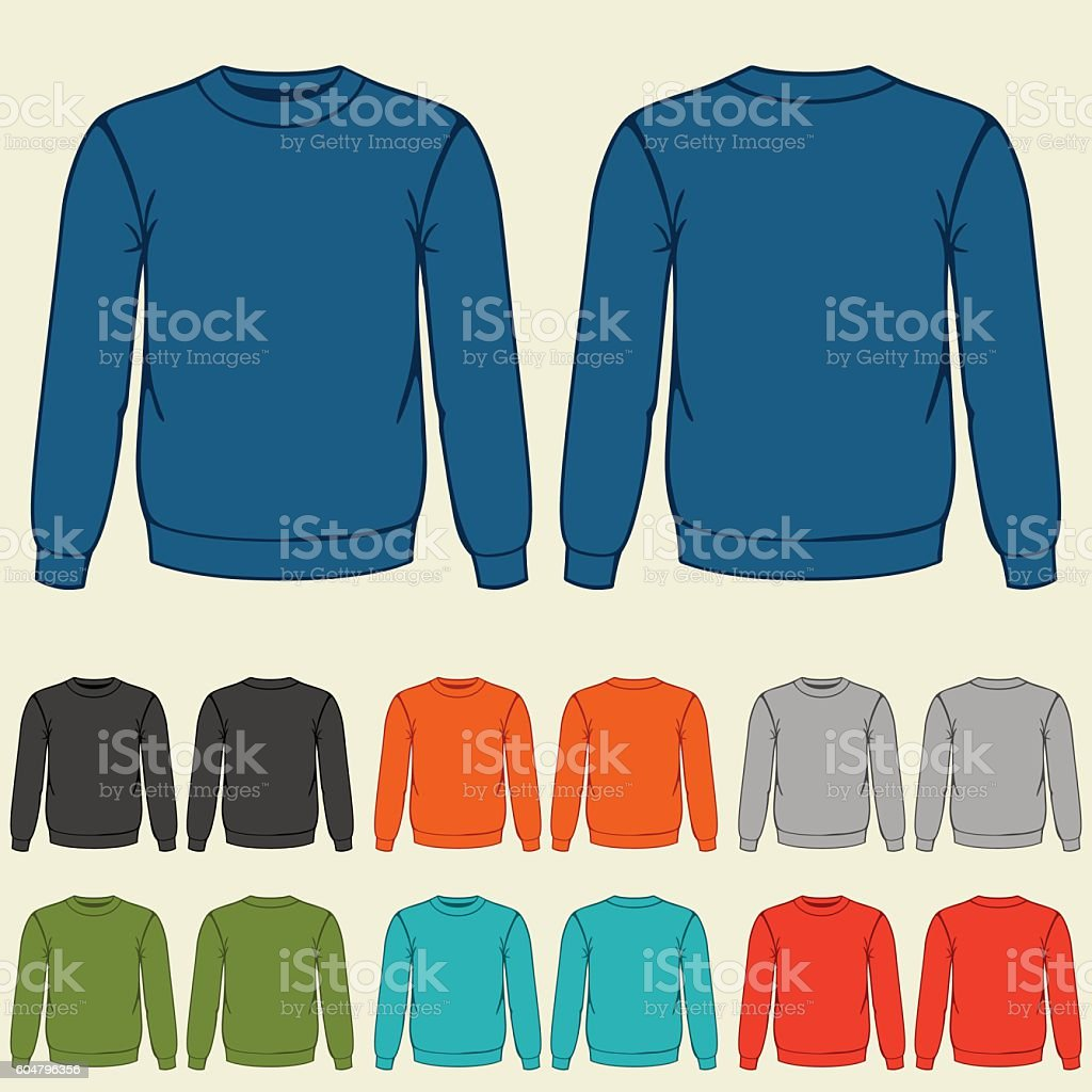 Set of colored sweatshirts templates for men vector art illustration