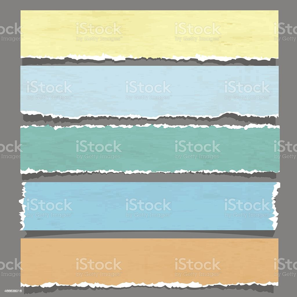 Set of colored torn paper banners vector art illustration