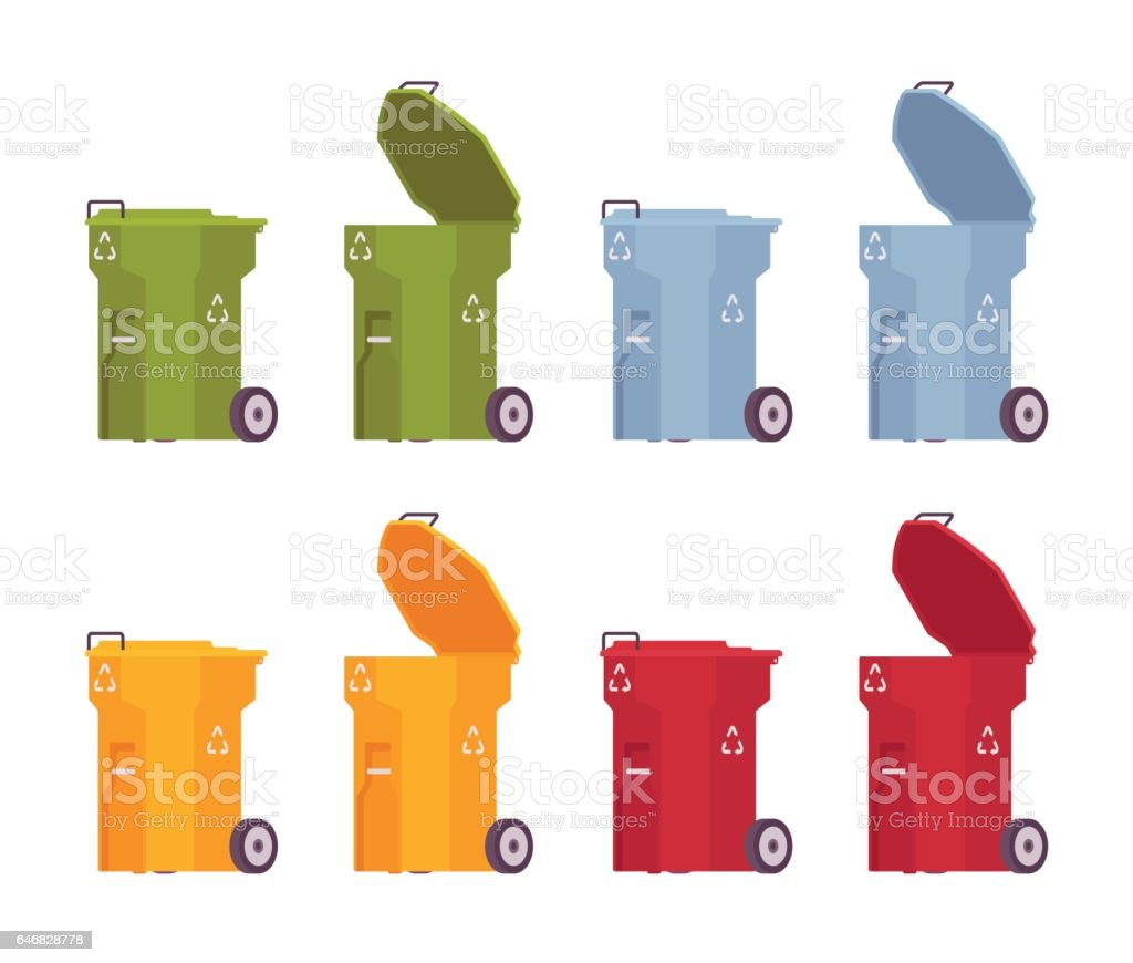 Set of colored trash bins on wheels, open and closed vector art illustration