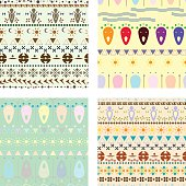 Vector set of colored tribal ethnic seamless pattern.