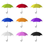 Set of Colored Umbrella Icons isolated on white background. Flat Style. Clean and modern vector illustration for design, web.