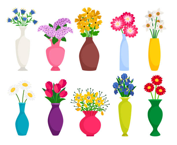 Set of colored vases with blooming flowers for decoration and interior Set of colored vases with blooming flowers for decoration and interior. Chamomile, tulip, poppy and lilac. Vector illustration temperate flower stock illustrations