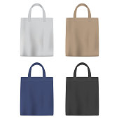 Set of colored vector bags with handle