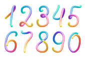 Set of colorful stylized rainbow 3d digits vector illustration
