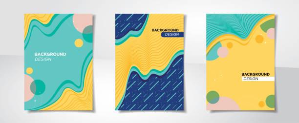 reihe von farbenfrohen abstrakten kreatives design abdeckung hintergründen - pastellgelb stock-grafiken, -clipart, -cartoons und -symbole