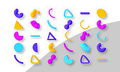 Set of colorful abstract geometric shapes. Elements for trendy design. Isolated objects. 3D vector illustration