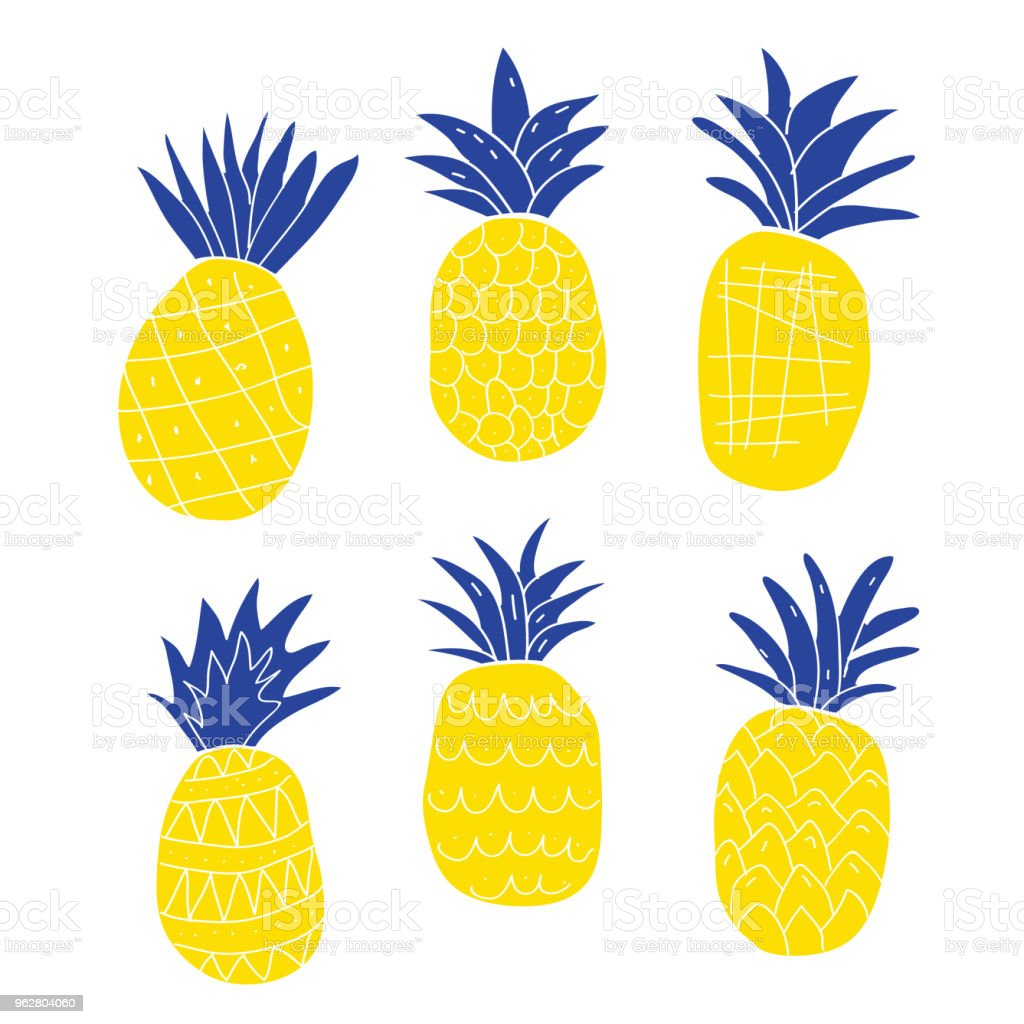 Set of colorful abstract pineapples - arte vettoriale royalty-free di Ananas