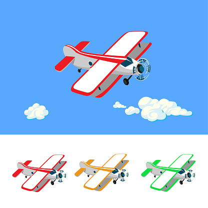 Set of colorful airplanes in cartoon style