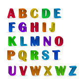 set of colorful alphabets with numerals, 3d alphabet numerals for your advertising and web design. Vector illustration