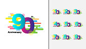 Set of Colorful anniversary celebration icons design for booklet, leaflet, magazine, brochure poster, web, invitation or greeting card.