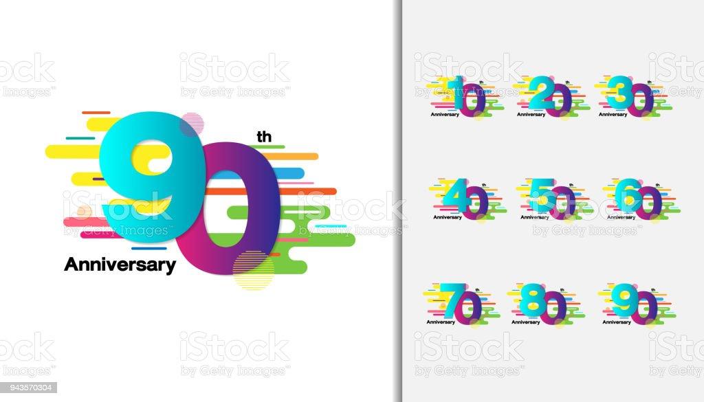 Conjunto de diseño de los iconos de celebración aniversario colorido para folleto, folleto, revista, folleto cartel, web, invitación o tarjeta de felicitación. - ilustración de arte vectorial