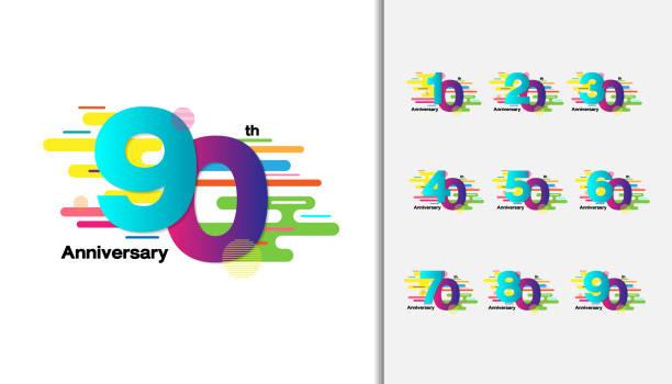 ilustrações, clipart, desenhos animados e ícones de conjunto de design de ícones de celebração de aniversário colorida para brochura, folheto, revista, cartaz folheto, web, convite ou cartão. - data especial