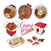 set of colorful Asian food. bibimbap, gedza, ramen and sushi. hand-drawn illustration
