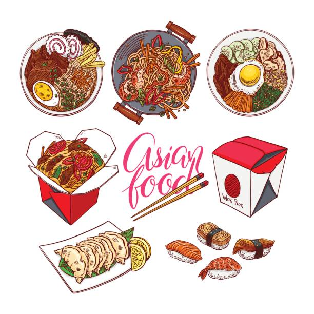 set of colorful asian food - chinese food stock illustrations, clip art, cartoons, & icons