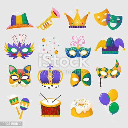 Set of colorful attributes for celebrating Mardi Gras - traditional spring holiday and carnival parade in New Orleans. Isolated vector elements