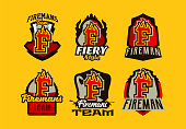 A set of colorful badge, emblems, logos, stickers on the theme of the work of firefighters. Burning letter, fire, shield, background. T-shirt printing, vector illustration.