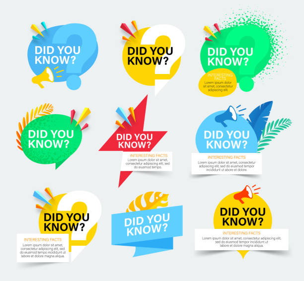 Set of colorful badges with did you know question. Isolated on white background. Did you know banner with megaphone and tropical leaves. Set of colorful badges with did you know question. Isolated on white background. Did you know banner with megaphone and tropical leaves. diad stock illustrations