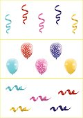 Set of Colorful Balloons and Ribbons Isolated on White Background. Vector Illustration Design for Birthday, Children Party, Baby Shower, Wedding.