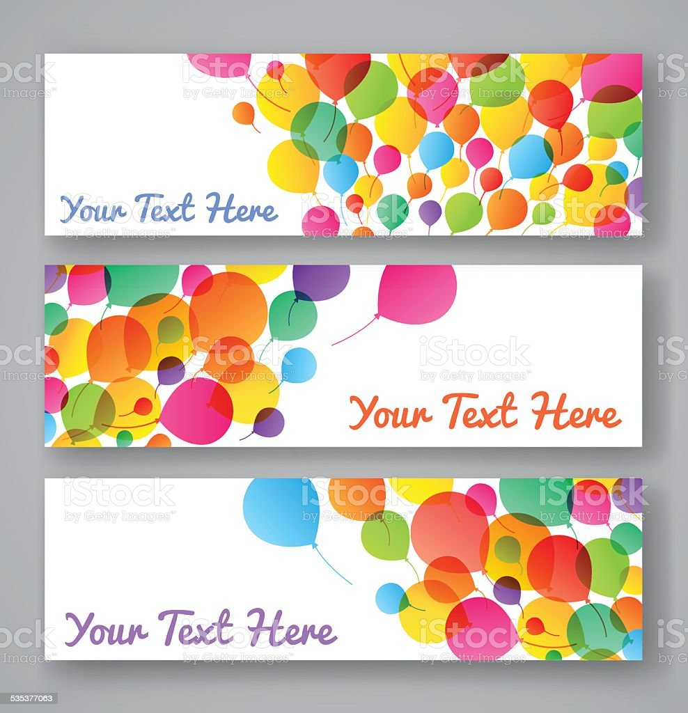 Set of colorful balloons banners vector art illustration