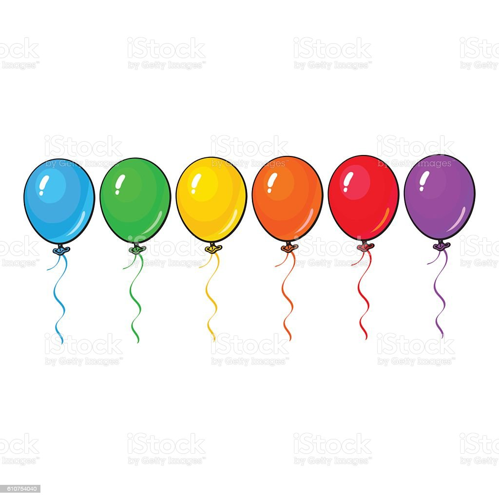 Set of colorful balloons isolated on white background vector art illustration