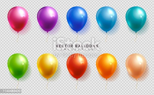 Set of colorful balloons on a transparent background. Vector objects in realistic style.