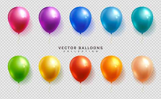 Set of colorful balloons. Vector.