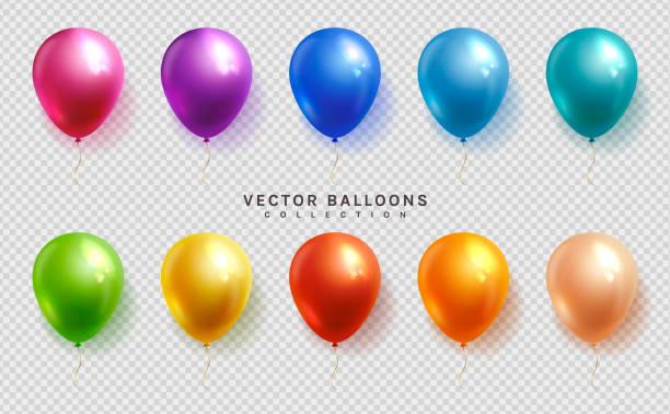 satz von bunten ballons. vektor. - ballon stock-grafiken, -clipart, -cartoons und -symbole