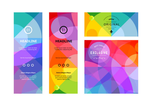 set of colorful banners. vector background design - vibrant color stock illustrations