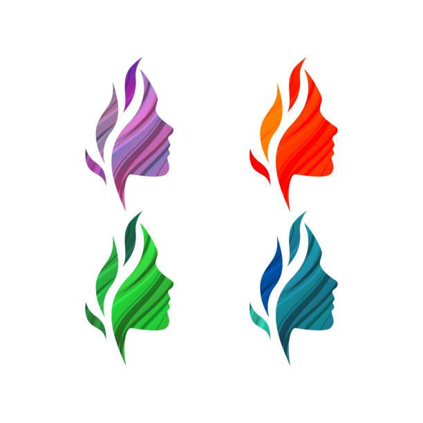 satz von bunte schöne weibliche gesichter mit wellen - pflanzenhaar stock-grafiken, -clipart, -cartoons und -symbole