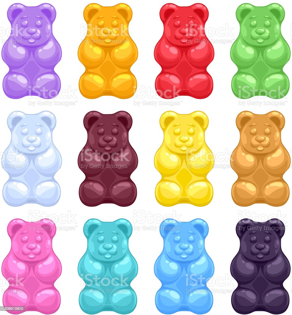 Set Of Colorful Beautiful Gummy Bears Stock Vector Art & More Images ...