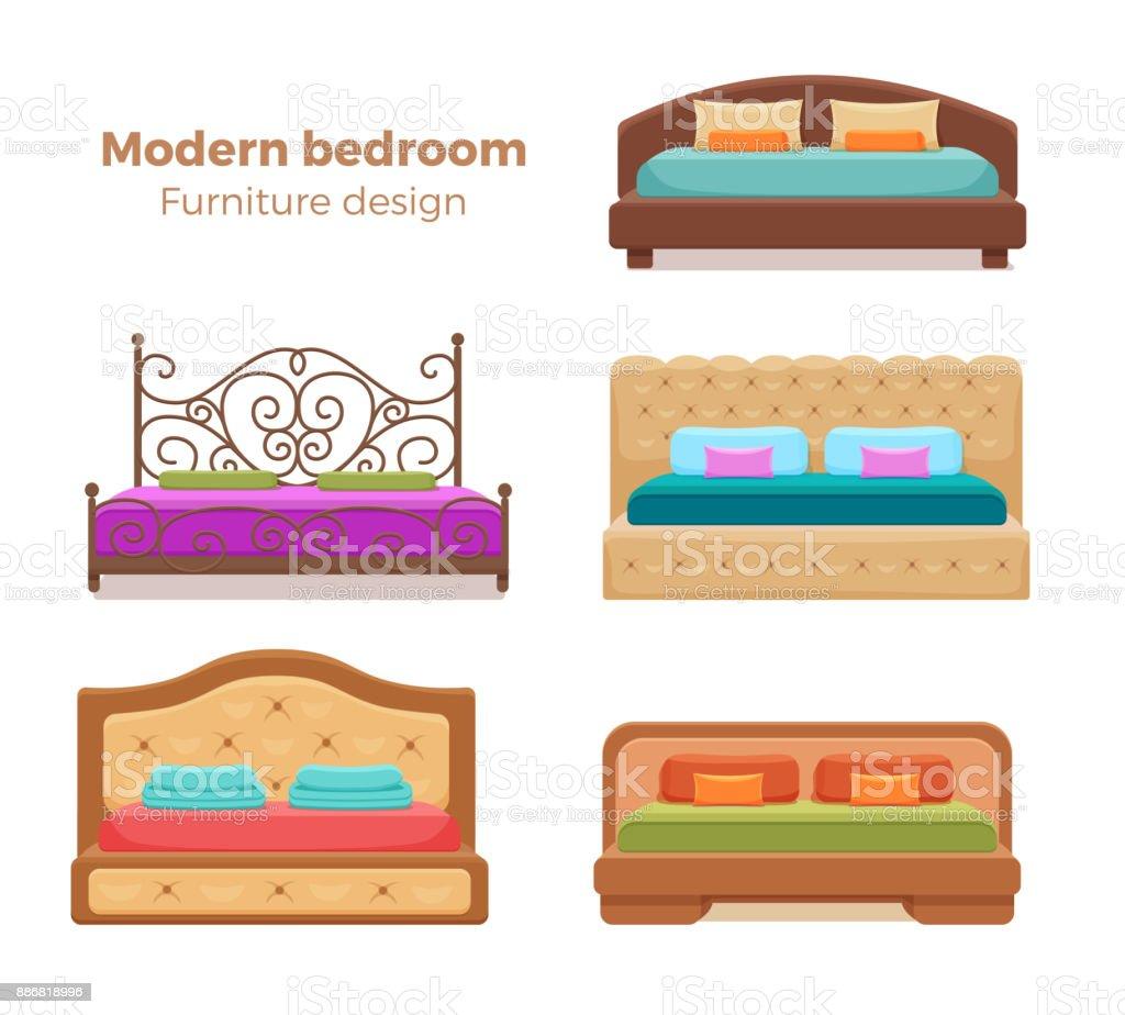 Reihe Von Bunten Betten Mit Kissen Und Decken. Vektor Sammlung Von Modernen  Schlafzimmer Design