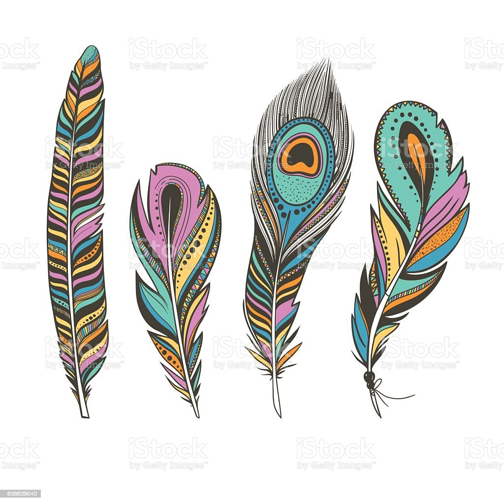 set of colorful bird feathers with ethnic ornaments stock