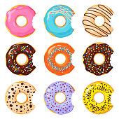 Set of colorful bitten donut on white background, flat vector illustration