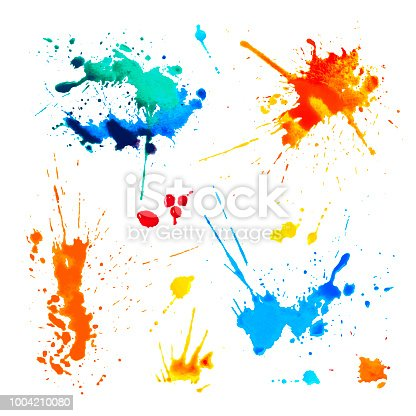 Set of colorful blots on white background. Watercolor splah paint