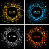 Set of Colorful Bright New Year 2016 Backgrounds, vector illustration