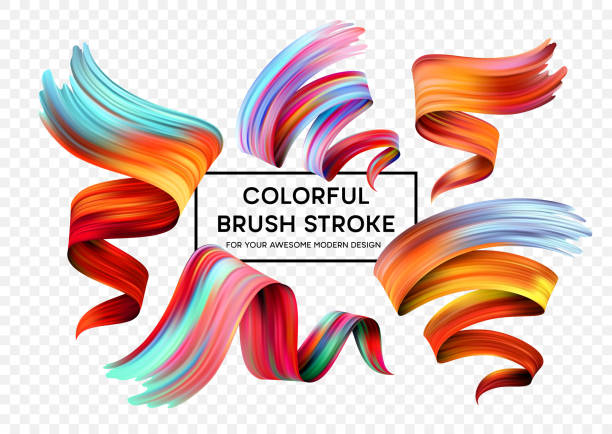 illustrazioni stock, clip art, cartoni animati e icone di tendenza di set of colorful brush strokes. modern design element. vector illustration - sfondo artistico