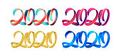 Vector illustration: Set of colorful Brushstroke paint lettering calligraphy of 2020 Happy New Year on white background