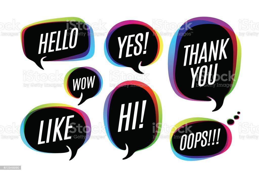 Set of colorful bubbles, icons or cloud talk with text vector art illustration